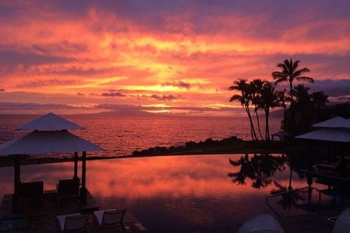Infinity pool in the sunset