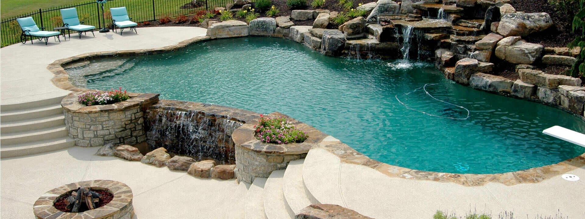 pool deck surround with resurfacing